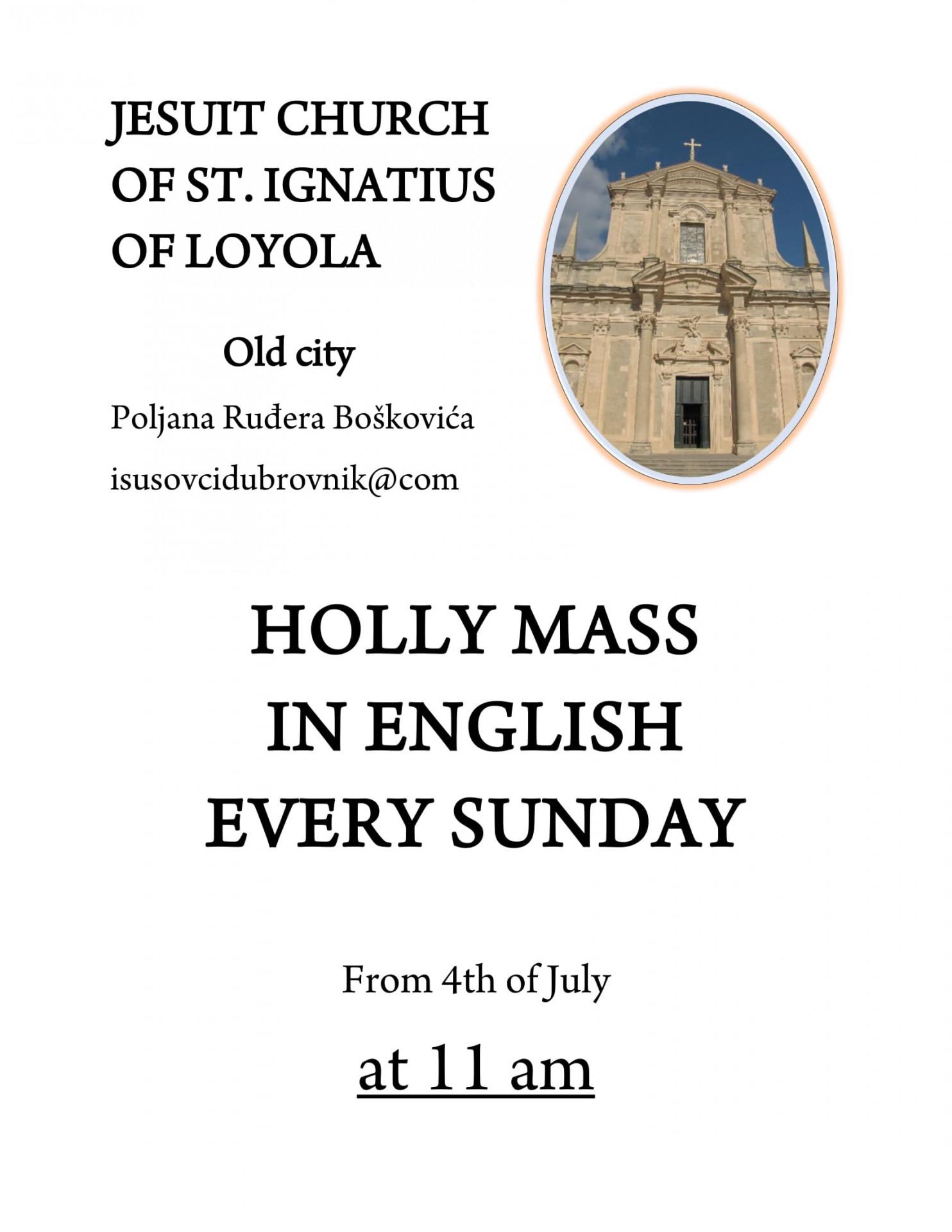 Mise na engleskom u crkvi sv. ignacija u dubrovniku 1