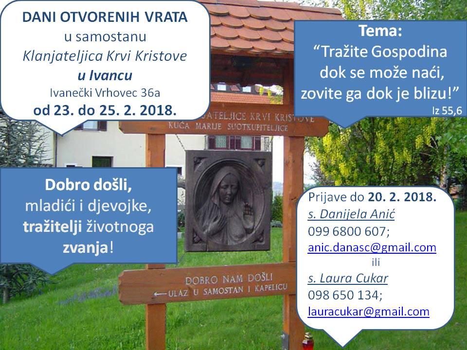Dani otvorenih vrata u samostanu Klanjateljica Krvi Kristove u Ivancu